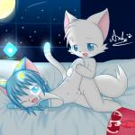 blue_eyes blue_hair blush canine cat condom crystaltail cub cum cum_inside duo feline female fox glowing hair internal loli lying male male/female mammal navel night on_side one_eye_closed open_mouth raised_leg saliva sex shota young  Rating: Explicit Score: 14 User: crystaltail Date: September 10, 2015