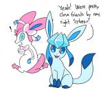 ! duo eeveelution glaceon nintendo pokémon robosylveon simple_background sylveon video_games