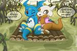 2017 blue_scales claws clothed clothing cubone cute detailed_background dialogue digimon digital_media_(artwork) dragon duo fan_character giramon guilmon hi_res hybrid lizard male markings nintendo niu-ka open_mouth outside pokémon pokémon_(species) raft red_eyes reptile scales scalie sven_(character) sven_the_giramon swamp toe_claws toto_(character) totodice1 vee4eva veemon video_games