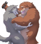 82ma47u boar canine chubby eyes_closed hug kemono male mammal open_mouth plain_background porcine smile tazer tickling tusk white_background wolf   Rating: Questionable  Score: 12  User: toboe  Date: May 20, 2012