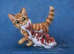 2015 cat dark_natasha feline fish green_eyes koi mammal marine traditional_media_(artwork) water wet  Rating: Safe Score: 0 User: 2DUK Date: July 31, 2015