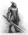 abs armor biceps charr feline genjiilim guild_wars horn line_art male monochrome plain_background solo standing sword topless video_games warrior weapon white_background   Rating: Safe  Score: 6  User: Grinard  Date: December 05, 2013