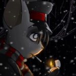 animated anthro big_ears black_clothing black_hair cigarette coffinberry fur grey_fur hair hyena lighter looking_up low_res male mammal nazi night outside scarf smoking snow snowing solo tree white_eyes