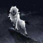 absol ambiguous_gender cloud dark_theme feral looking_at_viewer night nintendo outside pokémon pride_rock sky snow snowing solo unknown_artist video_games