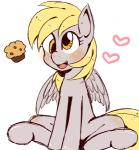 <3 blonde_hair blush cute derpy_hooves_(mlp) equine eyelashes female food friendship_is_magic fur grey_fur hair kiriya mammal muffin my_little_pony open_mouth pegasus simple_background sitting solo tongue wings yellow_eyes  Rating: Safe Score: 7 User: DeltaFlame Date: September 09, 2015