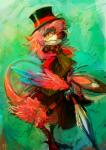 2013 anthro avian biped bird bird_feet bow clothed clothing digital_media_(artwork) feathers female hat hi_res looking_at_viewer nevrean ouroporos priley ribbons scutes solo top_hat umbrella winged_arms wings