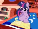 2012 bed book bookshelf equine female friendship_is_magic hair horn latecustomer lying mammal multicolored_hair my_little_pony pillow purple_hair reading solo twilight_sparkle_(mlp) unicorn   Rating: Safe  Score: 8  User: 2DUK  Date: February 03, 2014