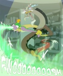 discord_(mlp) draconequus dragon fangs fire friendship_is_magic green_eyes horn male my_little_pony peewee_(mlp) phoenix red_eyes scalie spike_(mlp) wings   Rating: Safe  Score: 19  User: corbie  Date: October 12, 2012