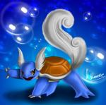 ambiguous_gender blue_skin bubble claws feathered_wings feathers head_wings marine marine_turtle nintendo open_mouth pokémon pokémon_(species) pose reptile scalie shell solo turtle underwater video_games viprette wartortle water wings