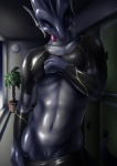 animal_genitalia blue_skin clothing cuntboy dragon genital_slit intersex looking_at_viewer pussy scalie slit tamaryuu tongue tongue_out undressing  Rating: Explicit Score: 12 User: Arkham_Horror Date: June 05, 2015