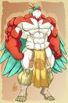 2014 abs anthro biceps clothing feathers fist frown green_feathers hawlucha hyper hyper_muscles jaeh loincloth male mammal muscle_arms muscle_legs muscular muscular_chest muscular_male nintendo pecs pokémon solo stare video_games