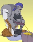 anthro balls blue_hair clothing dickgirl erection feces hair hyper hyper_feces hyper_urine intersex lus mammal peeing penis pooping relaxing rug scat skunk slightly_chubby smile solo toilet trash_can underwear urine zombiecat
