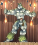 anthro balls barefoot biceps big_muscles blue_eyes braford clothed clothing equine erection fur genital_piercing green_fur green_hair grey_body hair half-dressed horse huge_muscles humanoid_penis loincloth loincloth_aside male mammal musclegut muscular nipple_piercing nipples open_mouth pecs penis penis_piercing piercing solo standing tattoo topless vein  Rating: Explicit Score: 3 User: Vinea Date: September 23, 2015