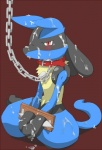 abuse ambiguous_gender anthro bdsm black_fur blue_fur bound canine chain collar convenient_censorship cum cum_covered excessive_cum forced fur gackt lucario mammal messy nintendo nude open_mouth pokémon red_background red_eyes simple_background sitting solo tears video_games yellow_fur