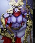 2015 abs alien armor bloodfart breasts cape cloth clothing crouching destiny_(video_game) fallen female glowing glowing_eyes looking_at_viewer nipples not_furry open_mouth outside pubes purple_skin pussy snow snowing solo spread_legs spreading staff teeth  Rating: Explicit Score: 10 User: kaseywolf Date: September 01, 2015