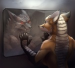 anthro armadillo breasts canine claws demon fangs female fox fur hybrid koul mammal red_eyes reflection side_boob toned  Rating: Safe Score: 16 User: Vallizo Date: September 07, 2015