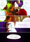 2011 anthro bear cin_(character) clothed clothing comic dialogue eye_contact eye_patch eyes_closed eyewear freckles green_hair hail_(character) hair jotaku kissing male male/male mammal purple_hair red_eyes smile text   Rating: Safe  Score: 0  User: Knotty_Curls  Date: May 13, 2015