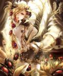 apple blonde_hair breasts butt clothing demon ear_piercing female flower flower_in_hair food fruit gin_ji gloves grapes hair hair_ornament hi_res horn jewelry legwear long_hair looking_at_viewer piercing plant pointy_ears red_eyes shingoku_no_valhalla_gate slit_pupils solo spade_tail white_gloves white_legwear wings  Rating: Safe Score: 10 User: AnacondaRifle Date: August 04, 2015