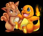 ambiguous_gender blue_eyes brown_fur charmander claws cute duo fire fur multiple_tails nintendo open_mouth pokémon ruugiaruu sitting tickling video_games vulpix  Rating: Safe Score: 0 User: Wolfdude91 Date: February 09, 2016