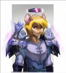 anthro armor buckteeth halo looking_at_viewer male mammal melloque mouse rodent simple_background smile solo teeth  Rating: Safe Score: 6 User: EmoCat Date: April 30, 2016