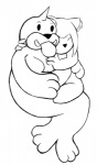 anthro black_and_white cat cub cuddling duo feline hug jellymouse mammal monochrome nintendo pokémon seel simple_background tongue tongue_out video_games young