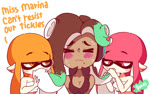 >_< animated blush breasts cephalopod clothing crop_top dark_skin diives domino_mask eyes_closed female female/female fingerless_gloves gloves green_eyes hair humanoid ink inkling innuendo licking marina_(splatoon) marine mask mole_(marking) nintendo not_furry octoling open_mouth orange_eyes orange_hair pink_eyes pink_hair shirt simple_background splatoon sucking suggestive sweat tentacle_hair tentacle_in_mouth tentacles tongue tongue_out video_games white_background