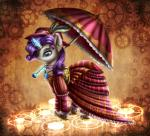 2015 9de-light6 abstract_background ball_gown blue_eyes clothed clothing cogwheel dress ear_piercing equine female feral friendship_is_magic fully_clothed fur gem hair hat hi_res horn magic mammal my_little_pony parasol piercing purple_hair rarity_(mlp) smile solo unicorn white_fur  Rating: Safe Score: 7 User: ConsciousDonkey Date: January 23, 2016
