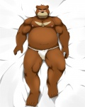 2013 5_toes anthro bear beat_you_(artist) biceps big_muscles black_eyes black_nose blush brown_fur chubby clothing fundoshi fur grizzly_bear juuichi_mikazuki kemono looking_at_viewer lying male mammal morenatsu muscles nipples pecs pose solo toes underwear   Rating: Questionable  Score: 11  User: BlackBoltEX  Date: May 22, 2013