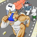 abs anthro balls blush bottomless bulge butt can canine chibi chubby clothed clothing criminal cute dog embarrassed fur group half-dressed humor lagomorph male mammal mask meg_hagure_(artist) muscular nude open_mouth outside police rabbit running running_away size_difference speedo star station streaking swimsuit teeth thief tongue topless train_stop underwear underwear_festival underwear_on_head uniform はぐれメグ  Rating: Explicit Score: 14 User: toboe Date: August 08, 2015