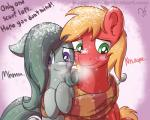 2015 big_macintosh_(mlp) blonde_hair blush bugplayer dialogue duo earth_pony english_text equine female feral friendship_is_magic fur gradient_background grey_fur grey_hair hair horn horse male mammal marble_pie_(mlp) my_little_pony pony red_fur scarf simple_background snow text  Rating: Safe Score: 1 User: ConsciousDonkey Date: May 02, 2016
