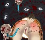 absurd_res anus blood body_writing bone butt clitoris clitoris_piercing english_text faceless_female feline female genital_piercing hi_res lynx mammal piercing public_use purple_eyes pussy pussy_piercing skeleton tentacles text trbox what  Rating: Explicit Score: 2 User: Buffy_Honey Date: May 17, 2015