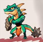 anthro balls big_penis bottomless clothed clothing daftpatriot flaccid half-dressed lizalfos looking_at_viewer male nintendo penis scalie shirt solo spines standing tank_top the_legend_of_zelda video_games  Rating: Explicit Score: 2 User: Circeus Date: October 08, 2015