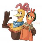 2013 4_fingers aardman_animations anthro anthro_on_anthro arm_around_shoulders avian bandanna beak biped bird brown_eyes brown_feathers brown_wings canon_couple character_name chicken chicken_run digital_drawing_(artwork) digital_media_(artwork) dreamworks duo english_text eye_contact eyelashes feather_tuft feathers female flat_chested frown gesture ginger_(chicken_run) green_eyes half-length_portrait hat hatershatesarea kemono korean male male/female mostly_nude multicolored_feathers neck_tuft open_beak open_mouth open_smile orange_feathers portrait raised_arm raised_eyebrow raised_eyebrows rhode_island_red rocky_rhodes simple_background smile text toony tuft unimpressed wattle white_background wide_eyed winged_arms wings yellow_beak yellow_feathers