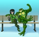 amphibian battletoads bench biceps blush duo eyewear female flexing green_skin lapinbeau male muscular my_hero_academia pecs rash_(battletoads) sitting smile spikes sunglasses teeth toad tongue tongue_out tsuyu_asui video_games  Rating: Safe Score: 5 User: metalslayer777 Date: September 20, 2015