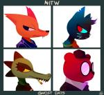 angus_(nitw) ankh anthro bea_(nitw) bear canine cigarette clothing crocodile crocodilian demon_days eyelashes eyewear fangs feline fox glasses gorillaz gregg_(nitw) group hair hat jacket leather leather_jacket mae_(nitw) mammal night_in_the_woods notched_ear parody pouting reapers969 reptile scalie scowling sharp_teeth shirt simple_background smoking teeth undershirt whiskersRating: SafeScore: 53User: WolfOfBladesDate: January 26, 2018