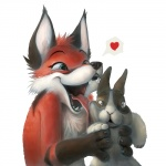 2012 <3 ambiguous_gender anthro canine claws cute duo feral fox lagomorph licking mammal predator/prey rabbit scared silverfox5213 surprise sweat teeth tongue tongue_out