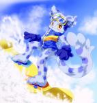 anthro black_nose blue_fur blush bottomless clothed clothing cloud coat day eyewear feline fur goggles gradient_eyes inner_ear_fluff kemono kemoshota leopard looking_at_viewer male mammal ollie outside pawpads pop'n_music sky snow snow_leopard snowboard snowboarding solo 悠久屋こてつ  Rating: Safe Score: 1 User: DirtyPrettyThings Date: February 12, 2016
