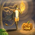5_toes anthro barefoot black_eyes brown_fur cape clothing costume dark fangs feline fire fur grass green_eyes halloween holidays horn humanoid_feet jack_o'_lantern lion male mammal mist plantigrade pumpkin shui shuigetsu sky smile solo tan_fur toes tree  Rating: Questionable Score: 3 User: Evan Date: December 24, 2013