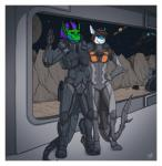 2015 anthro armor black_sclera brown_hair claws clothed clothing detts digitigrade dragon duo ear_piercing fish green_eyes gun hair horn male marine piercing planet purple_hair ranged_weapon shark smile space spacecraft star weapon window  Rating: Safe Score: 1 User: Kida Date: June 22, 2015""