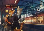 2020 anthro bottomwear canid canine city clothed clothing detailed_background duo_focus felid feline food group jacket male mammal map open_mouth orphen-sirius pants station stick topwear