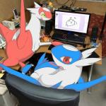 blush chair che_ri_ni computer desk drawing female feral latias latios legendary_pokémon looking_at_viewer looking_back male mixed_media nintendo photo pokémon real red_eyes sibling sitting size_difference video_games yellow_eyes   Rating: Safe  Score: 18  User: chdgs  Date: January 26, 2014