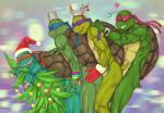 anal anal_penetration anthro brothers christmas christmas_tree crylin donatello_(tmnt) foursome group group_sex hat holidays incest leonardo_(tmnt) male male/male michelangelo_(tmnt) penetration penis raphael_(tmnt) reptile santa_hat scalie sex sibling teenage_mutant_ninja_turtles train_position tree turtle