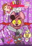 animatronic anthro avian bear bird blood bonnie_(fnaf) canine chica_(fnaf) duck english_text eye_patch eyewear female five_nights_at_freddy's fox foxy_(fnaf) freddy_(fnaf) gore group hook human lagomorph machine male mammal microphone mt rabbit robot star text video_games  Rating: Safe Score: 15 User: Ko-san Date: September 01, 2014
