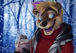 2016 ango76 anthro biped black_nose blonde_hair blue_eyes brown_fur bust_portrait clothed clothing cup digital_media_(artwork) ear_piercing eyebrow_piercing eyebrows facial_piercing forest front_view fur gemini_the_otter grey_clothing grey_topwear hair happy highlights holding_cup holding_object hot_chocolate lip_piercing male mammal multicolored_fur multicolored_hair mustelid open_mouth otter outside piercing portrait purple_hair purple_highlights purple_tongue red_clothing red_topwear short_hair signature smile solo standing sweater tan_fur tongue tree two_tone_fur two_tone_hair vest whiskers winterRating: SafeScore: 8User: Cash_BanoocaDate: March 29, 2017