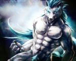 abs anthro biceps canine claws clothed clothing fur glowing half-dressed male mammal muscles paws pecs sky_(artist) solo topless tuft wolf   Rating: Questionable  Score: 0  User: Vallizo  Date: April 21, 2015