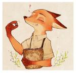 2016 4_fingers <3 anthro basket border brown_fur canine clothed clothing disney eating eyes_closed food fox fruit fur gloves_(marking) grapes holding_food holding_object liego male mammal markings nick_wilde orange_fur rolled_up_sleeves shirt smile solo suspenders zootopiaRating: SafeScore: 10User: Rysaerio-MisoeryDate: May 02, 2016