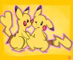 cute female male nintendo pcred566 pikachu plain_background pokémon video_games yellow_background   Rating: Safe  Score: 0  User: Hyper_Beam  Date: March 28, 2014