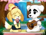 animal_crossing anthro bell black_nose canine clothed clothing cute dog duo eeviechu eyelashes eyes_closed female fur grass guitar hair isabelle_(animal_crossing) k.k._slider male mammal musical_instrument nature nintendo outside paws river shih_tzu sitting smile tree video_games water   Rating: Safe  Score: 9  User: DefinitelyNotAFurry  Date: April 17, 2015