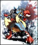 ambiguous_gender black_fur blood blue_fur canine fur lucario mammal mega_evolution mega_lucario nintendo pokémon solo spikes video_games yellow_fur 痛飯@発情期  Rating: Safe Score: 10 User: N7 Date: November 08, 2015
