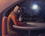 2007 alien anthro beverage caitian chair clothed clothing coffee cup feline food fur grey_fur hibbary male mammal portrait reflection sitting solo space spacescape star star_trek star_trek_the_next_generation steam table uniform window  Rating: Safe Score: 25 User: Anomynous Date: July 05, 2009